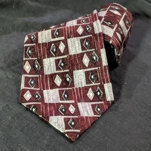Maroon and Silver Square Pattern Tie
